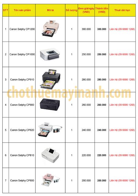 Bảng giá cho thuê máy in ảnh