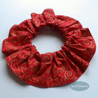 Christmas Dog Scrunchie Ruffle, Red Gold Swirls