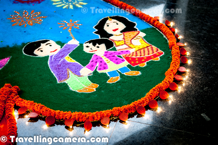 Rangoli is a traditional decorative folk art of India. And the importance of these designs are different in different states of the country. In fact, Rangoli designs are made in different states of India during different occasions & festivals. These are decorative designs made on floors of living rooms and courtyards during Hindu festivals and are meant as sacred welcoming areas for the Hindu deities. The ancient symbols have been passed on through the ages, from each generation to the one that followed, thus keeping both the art form and the tradition alive.