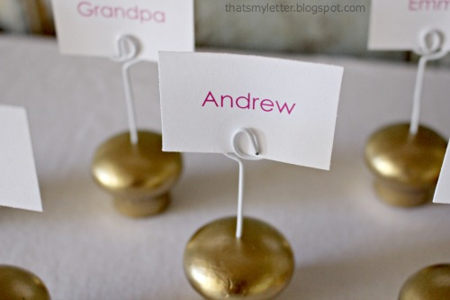 diy wood knob place cards