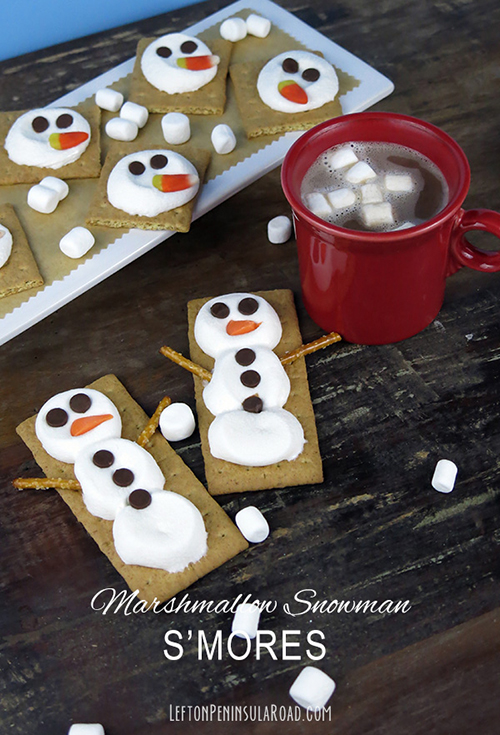 Surprise the kids with these adorable Snowman S'mores. What a fun snow day treat!