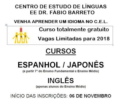 CENTRO DE ESTUDO DE LÍNGUAS   EE DR. FÁBIO BARRETO