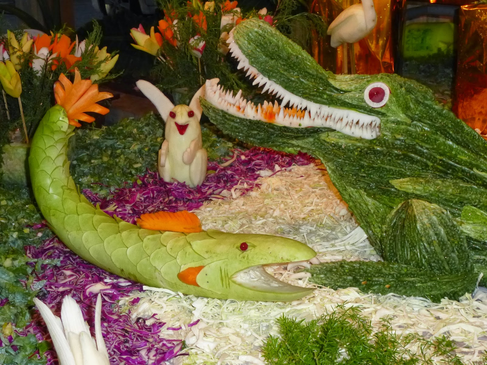 Vegetable carving for competition - Brinjal Flower Vase Vegetable Carvings Recipe