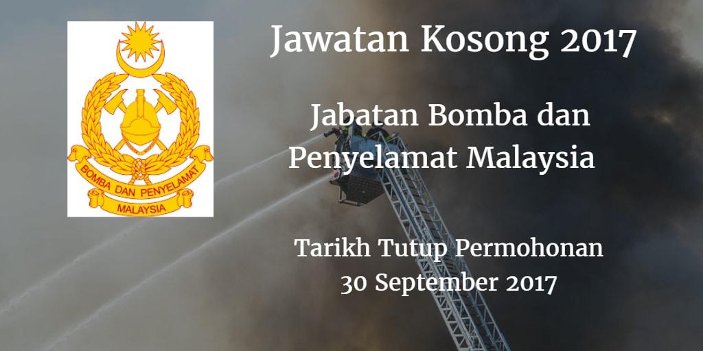Jawatan Kosong Jabatan Bomba dan Penyelamat Malaysia 30 September 2017