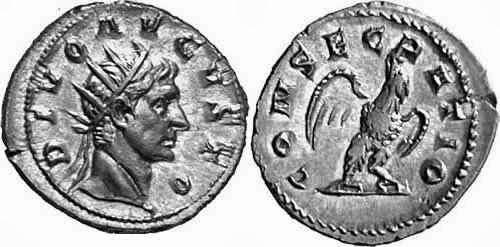 Antoniniano de Trajano Decio en homenaje a Augusto - serie de los divi