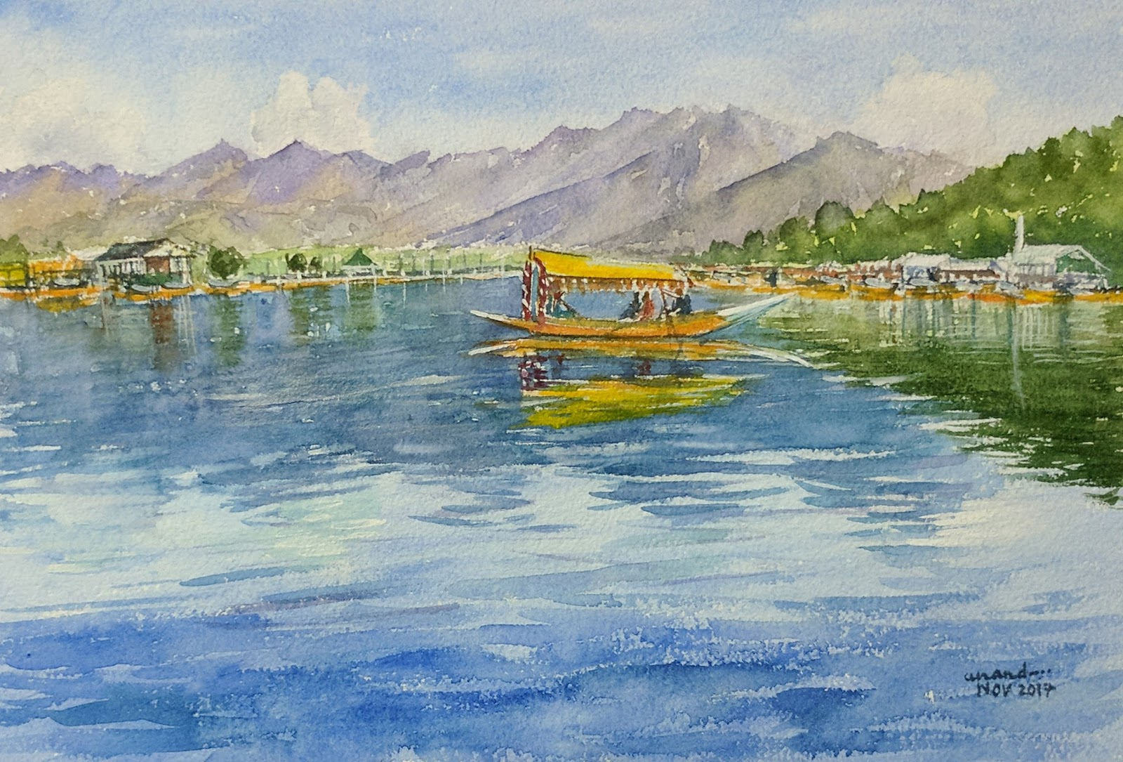 Art By M R Anand Dal Lake