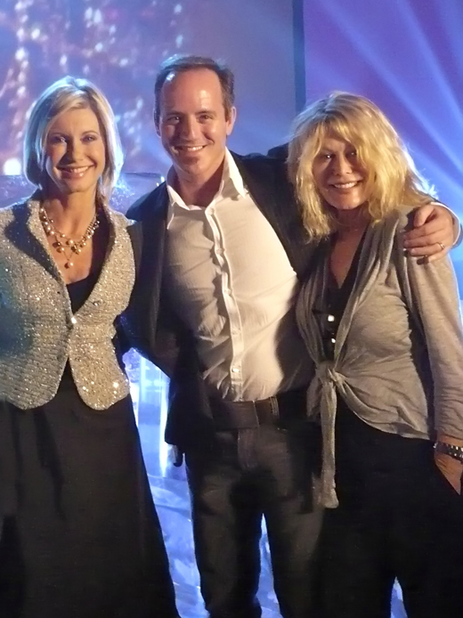 Olivia Newton-John, Michael Caprio and Rona Newton-John during TV special taping