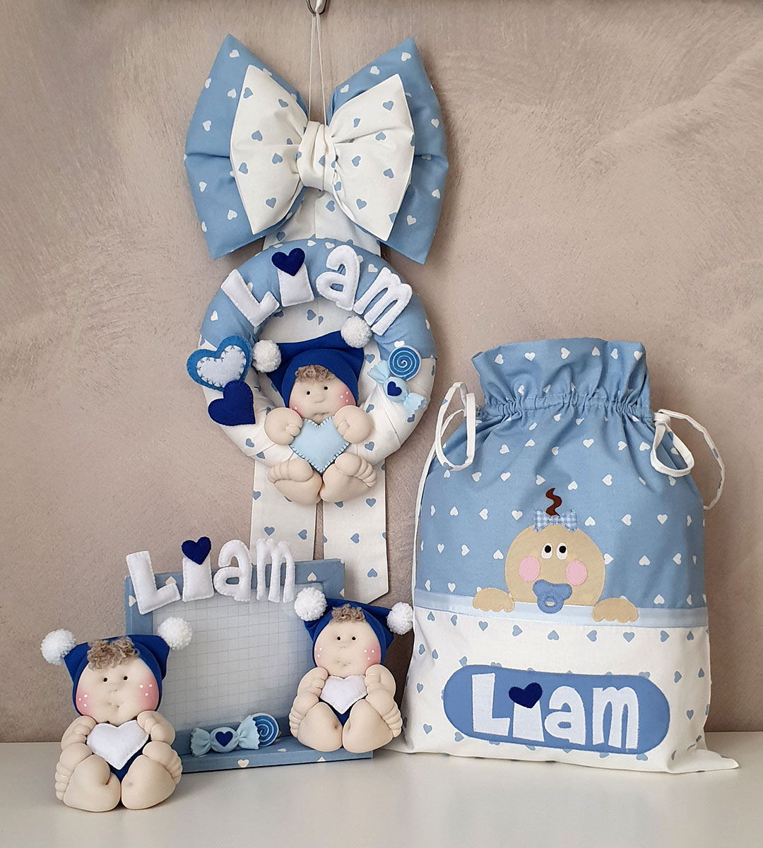 coordinato nascita maschietto cuori azzurro