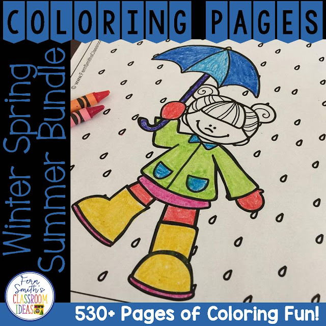 Winter Spring and Summer Coloring Pages Big DISCOUNTED Bundle! This DISCOUNTED bundle comes with a SUBSTANTIAL DISCOUNT of less than 3 cents a page compared to purchasing each resource separately. Your students will love how this coloring pages bundle has over 530+ Print and Go Coloring Pages for the Second Semester of School! Coloring Pages for Winter, Spring and Summer all in one BIG BUNDLE!