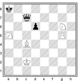 Estudio artístico de ajedrez compuesto por Ercole del Río (Sopra il giuco degli scachi, 1750)