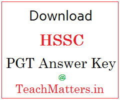 image : HSSC PGT (Mewat) Answer Key @ TeachMatters