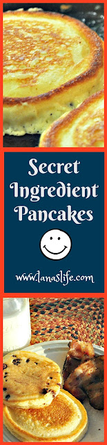 "I am going to give you all a special treat at the end of this post, but for those of us who are on the fly in the mornings, I'm going to share my Secret Ingredient Pancake recipe.  By adding just two simple, secret ingredients to any pancake mix, your family will be raving about your ""homemade pancakes"" to all their friends.  Promise!"