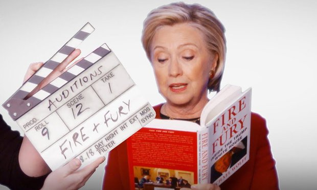 Hillary Clinton reads from 'Fire and Fury' in surprise Grammy appearance