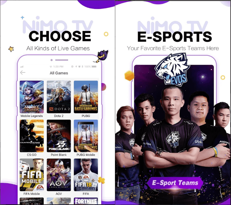 You can stream and watch different games and events