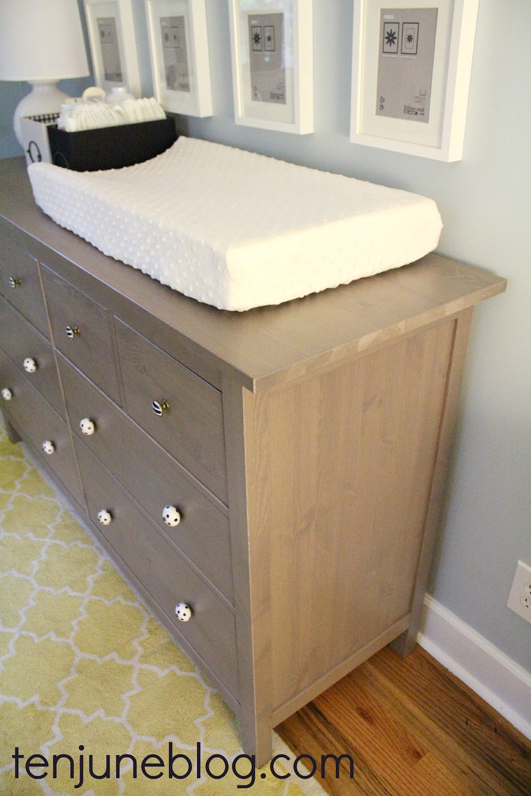 Ten June Nursery Update Ikea Dresser Turned Changing Table Station Land Of Nod Gumball Lamps