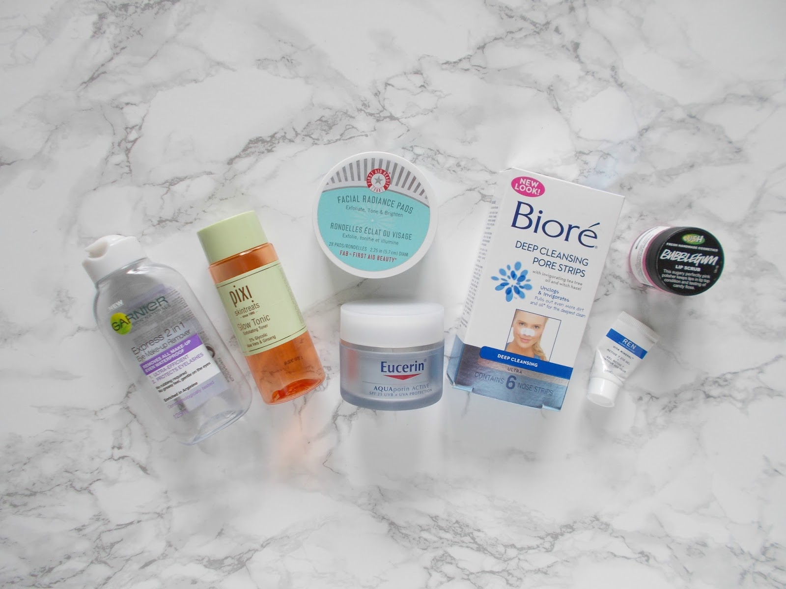 product empties skincare pixi fab biore lush garnier eucerin