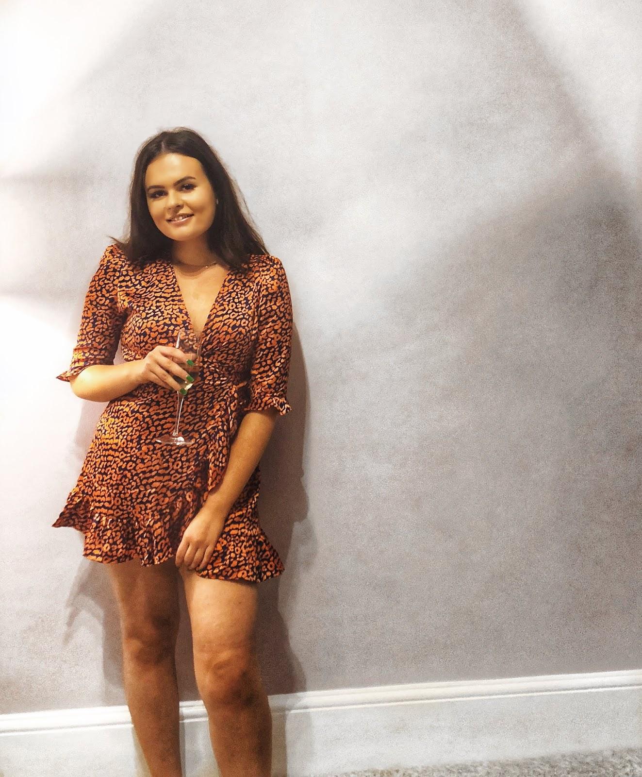boohoo Satin Leopard Print Ruffle Wrap Tea Dress, cheap never fully dressed, never fully dressed discount code, megans balham, instagram places in london, cheap bottomless brunch in london, under £20 bottomless brunch