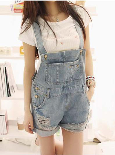 Distressed Denim Mini Overalls - Faded Blue