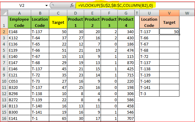 VLOOKUP function in one Cell using COLUMN function