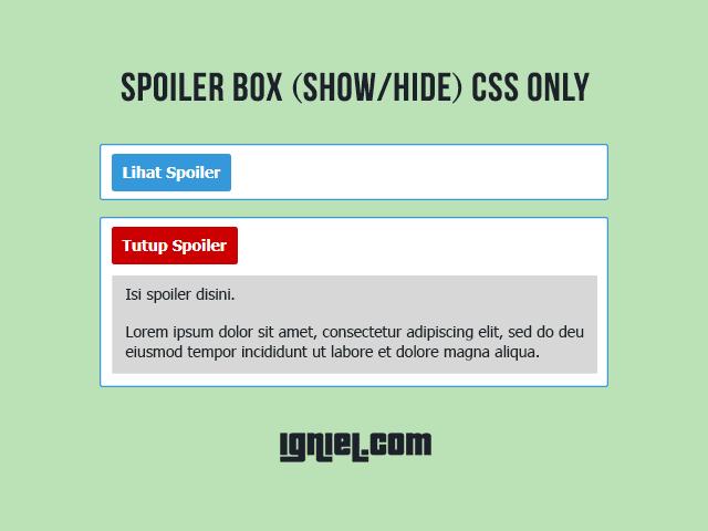 Cara Membuat Kotak Spoiler Dengan CSS Tanpa Javascript
