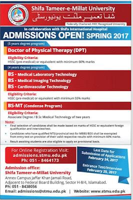 Shifa admissions 2017