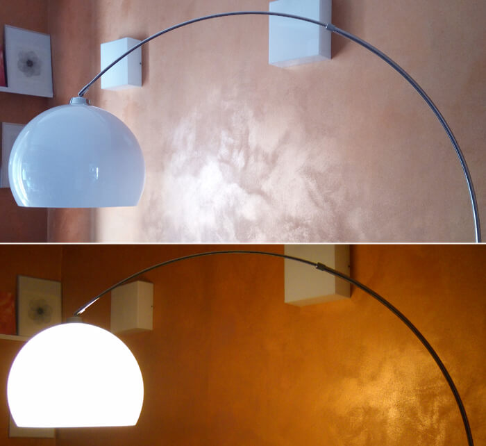 Detail of the lampshade, switched on and off, of the Fjella arc lamp