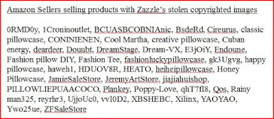 Amazon sellers with stolen copyright images from Zazzle