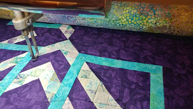 Turning Tiles quilt using Island Batik Lavendula fabrics in McCall's Quilting Jan/Feb 2019 magazine