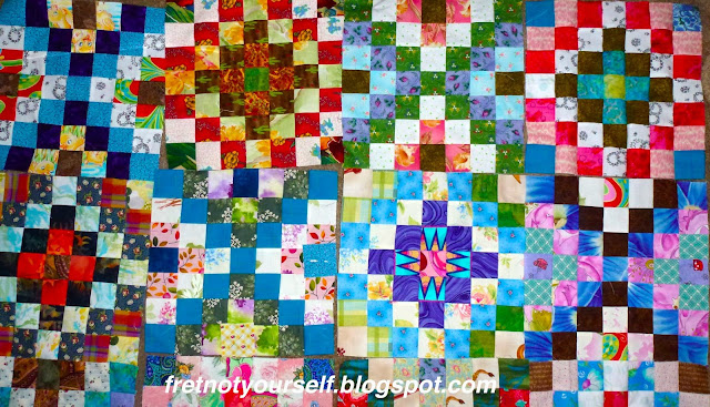 Two block layout of Trip Around the Block quilt
