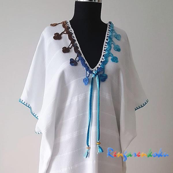 beyaz bambu peştemal elbise