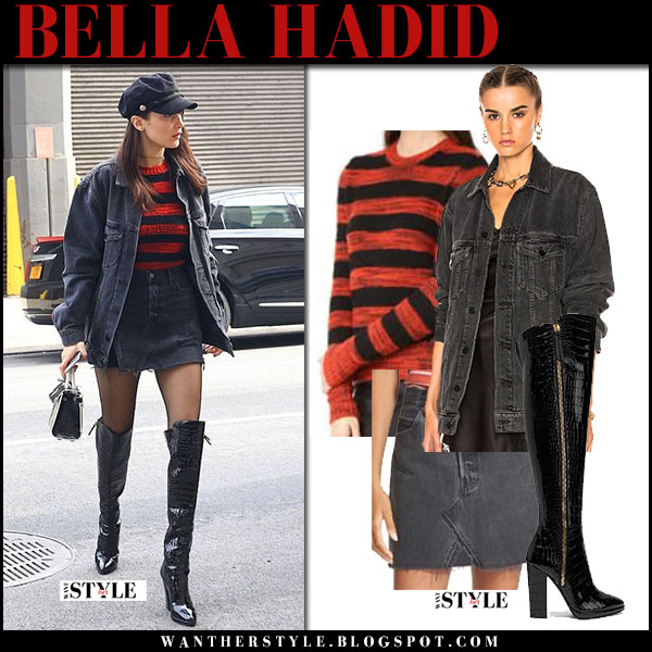 Bella Hadid grey denim jacket denim alexander wang mini skirt striped sweater new york fashion week outfit 2017 what she wore
