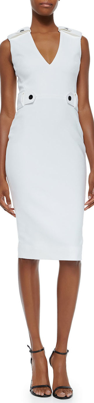 Victoria Beckham Tabbed Ponte Sheath Dress White