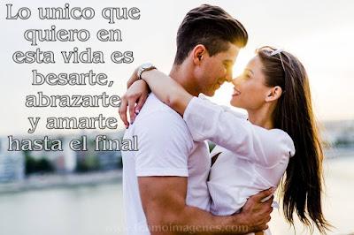 Lo único que quiero en esta vida es besarte, abrazarte y amarte hasta el final