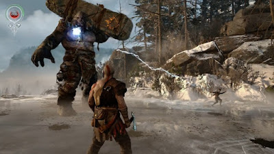 God of War 4 Gameplay: Kratos & his son are fighting a troll