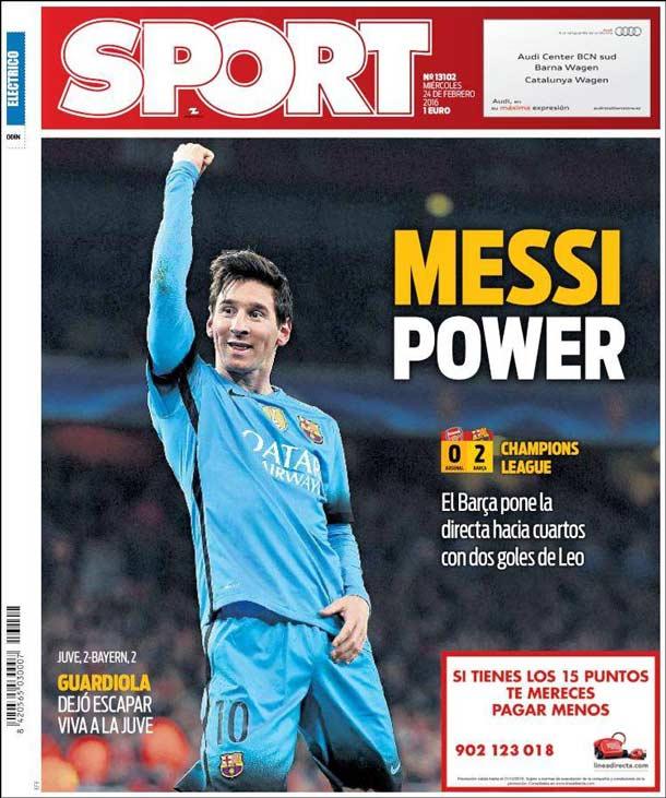Portada del periódico Sport, miércoles 24 de febrero de 2016