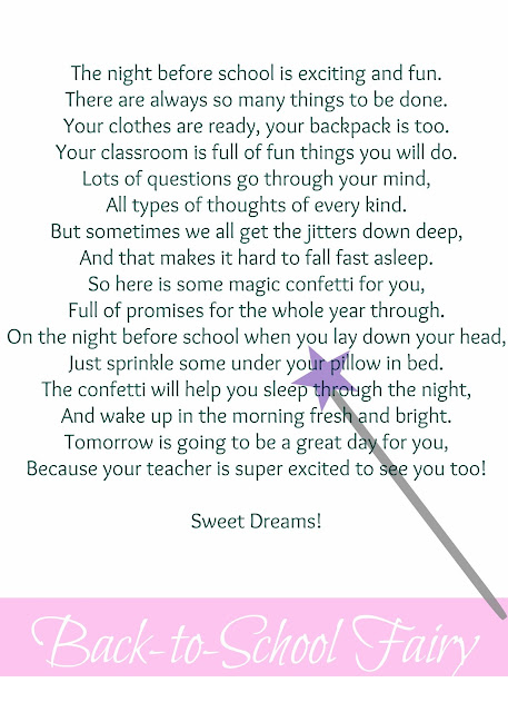 Free Printable for Back-to-School Fairy Poem