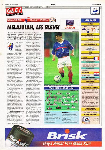 BIXENTE LIZARAZZU FRANCE VS PARAGUAY WORLD CUP 1998