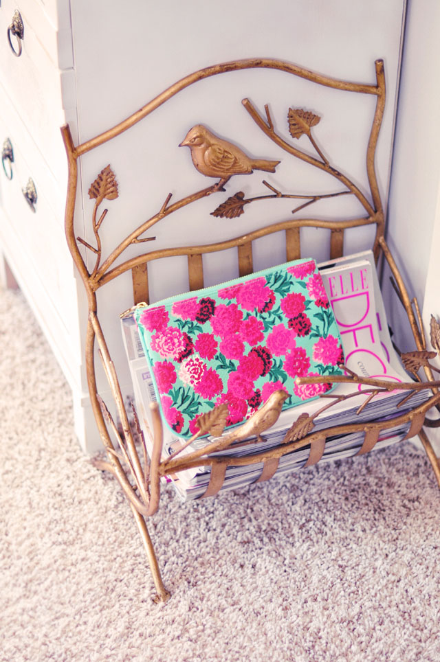 floral pouch, vintage gold with birds magazine rack