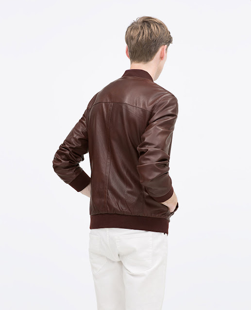 Áo khoác nam Zara Faux Leather Bomber Jacket