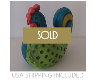 Colorful Ceramic Rooster Figurine by Ardco