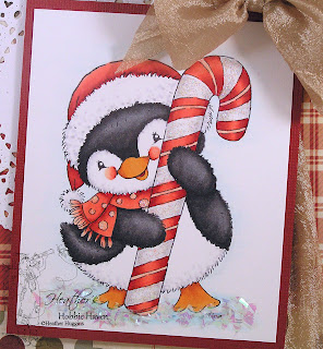 Heather's Hobbie Haven - Penguin with Candy Cane Card Kit