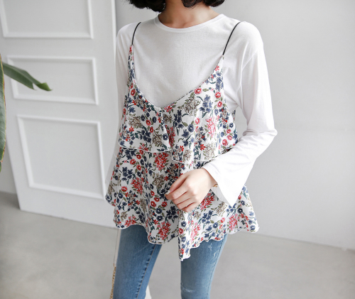 Floral Tiered Sleeveless Blouse