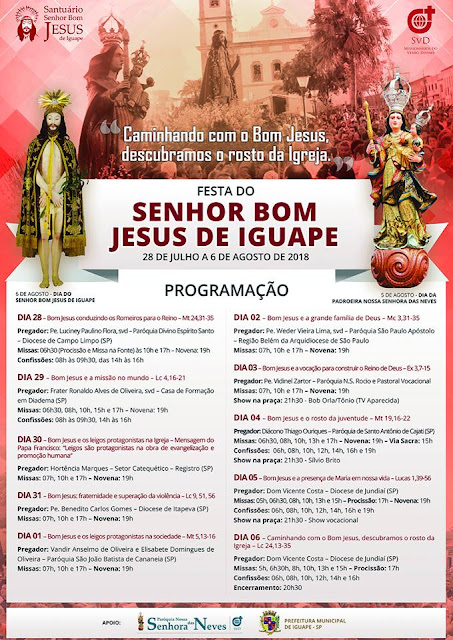Programação da Festa do Bom Jesus de Iguape