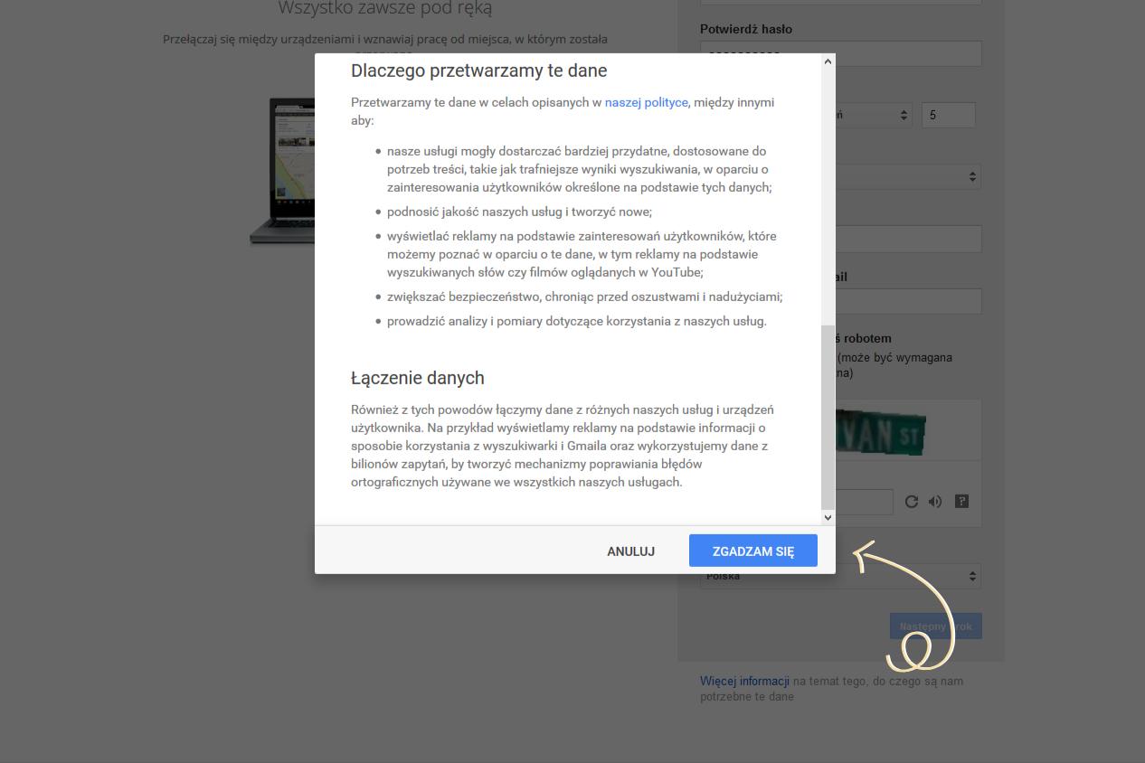 jak założyć konto google - regulamin