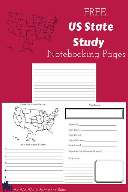 US State notebooking pages