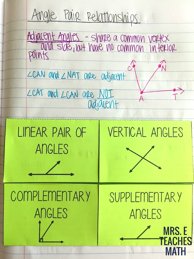 Angles and Relationships INB Pages | Mrs. E Teaches Math