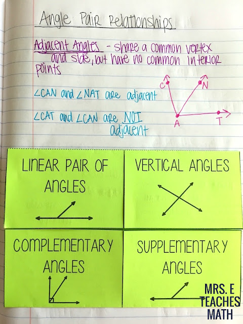 Angle Pair Relationships Foldable for Geometry
