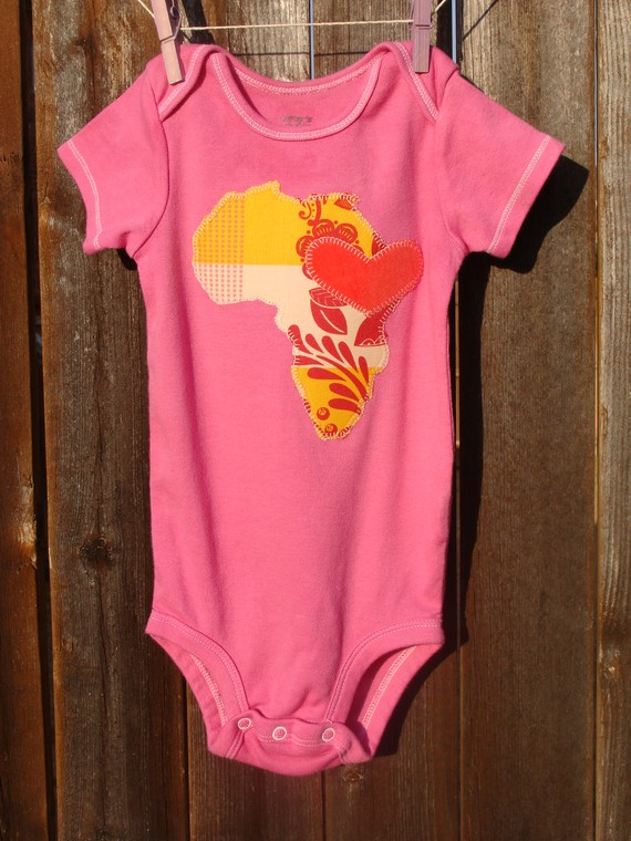 The Wayman Family Nest Pink Heart For Africa Onesie
