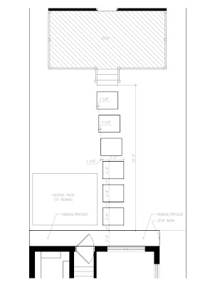 autocad drawing plan concrete path rectangle back door walk