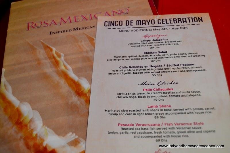 Rosa Mexicano's Cinco de Mayo menu